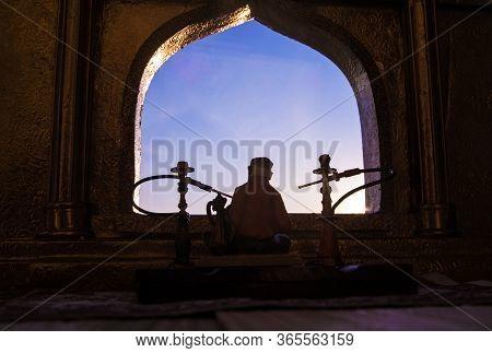 A Realistic Arabian Interior Miniature With Window And Columns. Hookah Hot Coals On Shisha Bowl Maki