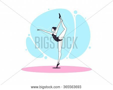 Graceful Ballerina Woman In Outline Minimalist Style. Ballet Dancer Stands On One Leg, Keeps Another