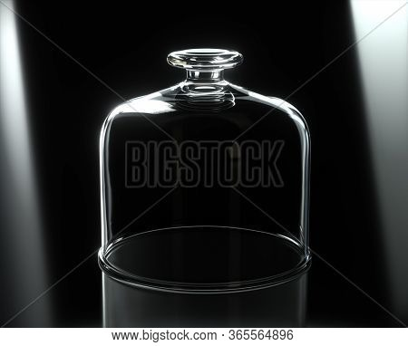 Glass plate cover with nothing under it, on black background. 3D Render