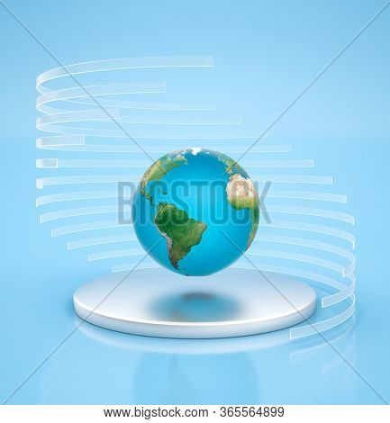 Earth globe planet is floating in the air above silver pedestal with transparent circles around it. 3D render.