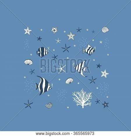 Marine  Pattern With Fishes And Conchs And Starfishes