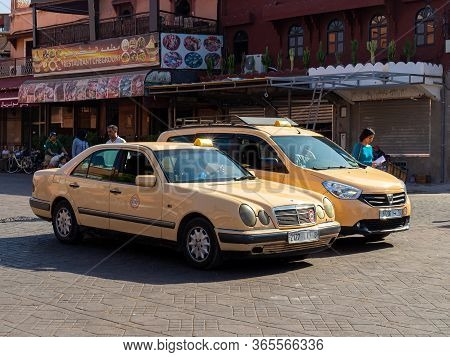 Marrakesh, Morocco - 12 October, 2019: Traditional Taxi In Marrakesh, Morocco. Jemaa El-fnaa Is A Sq