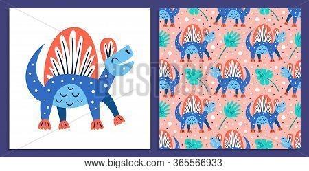 Little Cute Blue Dinosaur. Prehistoric Animals. Jurassic World. Paleontology. Reptile. Archeology.