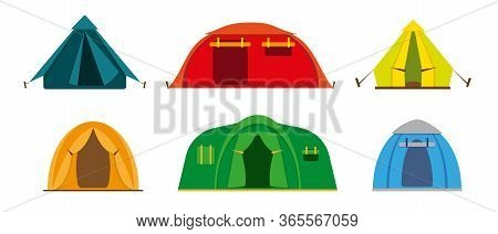Set Of Tourist Camp Tents Isolated On White Background. Hiking And Camping Tents Vector Icons Illust