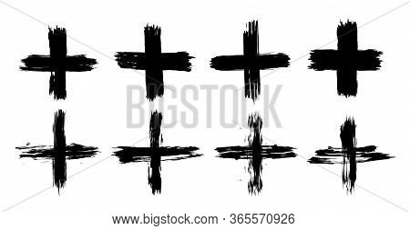 Set Of Plus Signs In Grunge Style. 8 Highly Detailed And Different Crosses. Plus Black Isolated On W