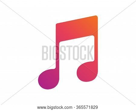 Musical Notation In Colorful Gradient. Illustration Of Music Symbol. Classic Melody Sign In Flat Des