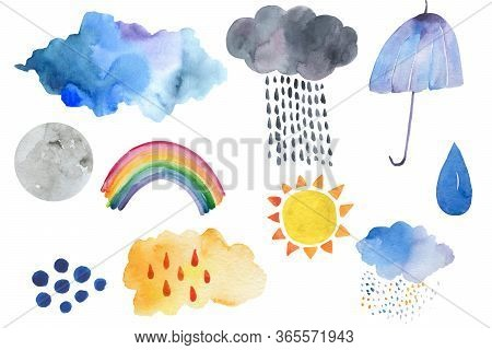 Doodle Illustration Of Weather Icons - Cute Decoration. Little Rainbow And Clouds, Cute Characters S