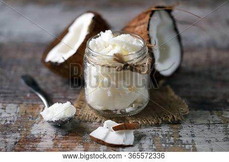Coconut Oil. Coconut In Half. Healthy Diet. Vegan Diet.