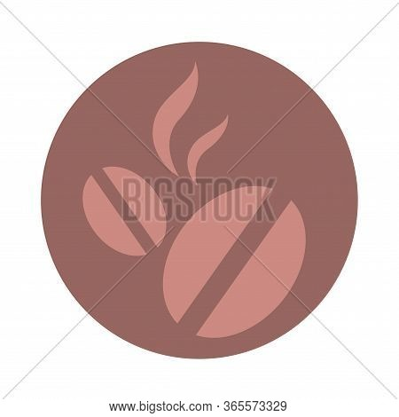 Icon With Roasted Coffee Beans. Symbol Of An Invigorating Drink. Brown Isolated Object. Vector Illus