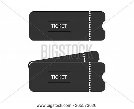 Ticket For Theater Or Cinema In Black Simple Design. Isolated Event Label To Pass Inside. Theatre Or
