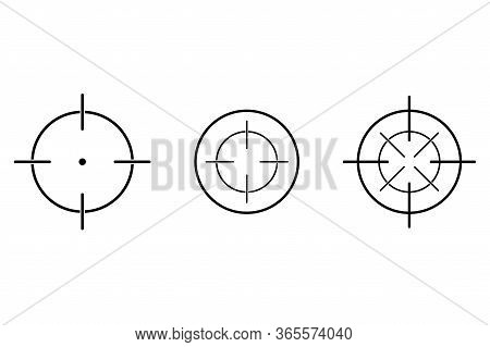 Aim Or Target Cross Symbol In Circle. Illustration Of Weapon Sign Of Sniper Or Sharpshooter. Aiming