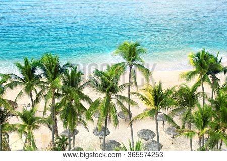 Palm trees, ocean waves and beach, Acapulco de Juarez, Mexico. Sandy Beach of the Pacific Ocean