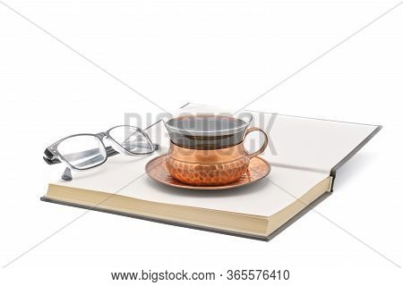 Hardcover Book Opened To The Last Page With A Cup Of Coffee On Top And A Pair Of Reading Glasses On