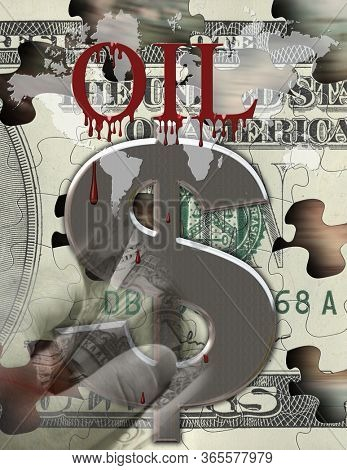 Oil money. Dollar sign and currency. 3D rendering