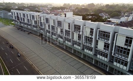 Aerial Footage Of Empty Abandoned And A Quiet Office Area Streets Of Bekasi - Indonesia During Covid