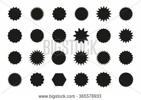 Set Of Star Burst Stickers. Vector Starburst Price Tag Icon. Set Badge Shape. Isolated Sale Promo Pr