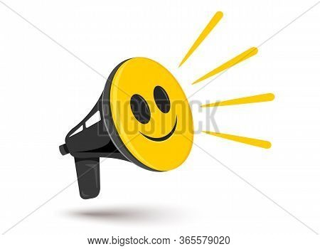 Vector Icon Of Vintage Megaphone With Positive Smile. Vector Retro Megaphone With Happy Emoji. Posit