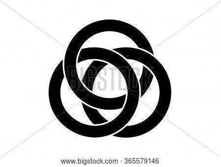 Celtic Knot, Interlocked Circles Logo, Vector Tattoo Isolated On White Background