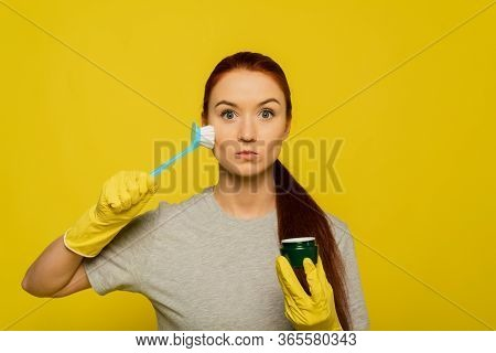 Beauty Face Skin Care. Closeup Young Woman In Yellow Gloves And Cleaning Brush In Hand Exfoliating S