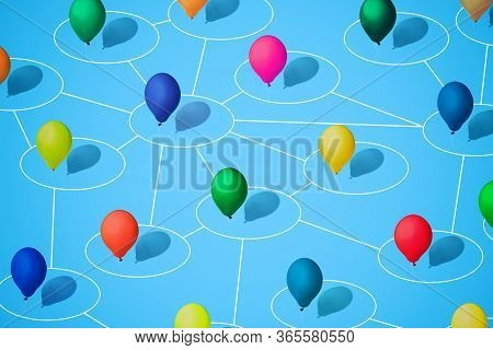 Multicolored Balloons As A Symbol Of Heterogeneity Of Society. Modern Isometric Style. Concept Of Co