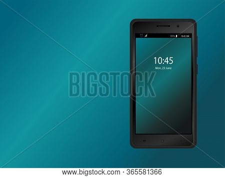 The Layout Of The Smartphone In Black Color With A Gradient Screensaver. Wireframe Template. Vector
