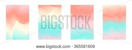 Abstract Tender Pastel Coral And Teal Blue Vibrant Gradient Colors Backgrounds For Fashion Flyer, Br