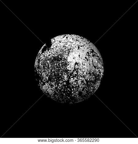 Planet In In Black Space. Gray Sphere On A Gray Background.