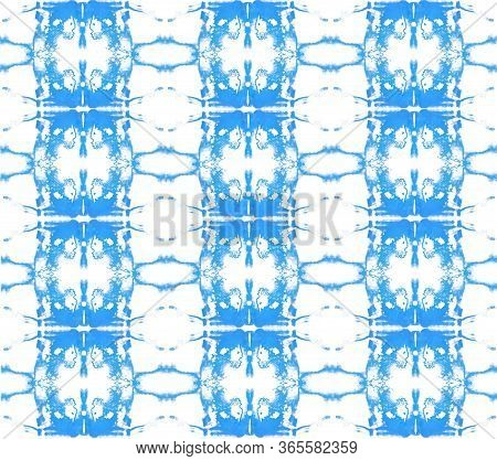 Symmetric Blue Pattern On A White Background.
