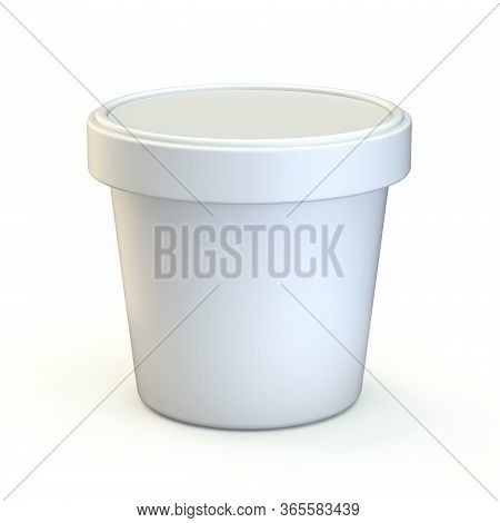 White Ice Cream Tub Front View 3d Render Illustration Isolated On White Background