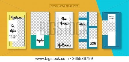Modern Stories Vector Background. Blogger Simple Border, Social Media Kit Template. Online Shop Fash