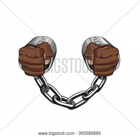 Chained African Person. Slave Captive. Handcuffs. Vector Graphic Illustration Captive Chain No Freed