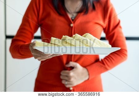 Woman Having Stomach Ache And Refusing White Bread,female Allergy To Bread,food Intolerance Defined