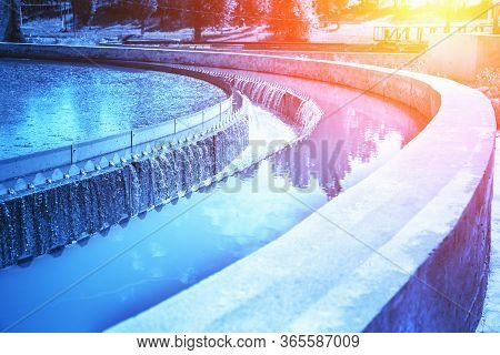 Wastewater Treatment Plant Round Sedimentation Tank, Blue Toned.