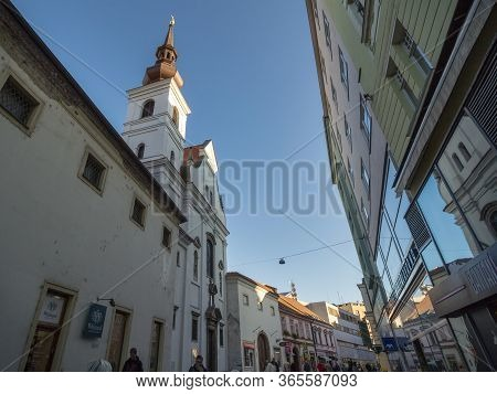 Brno, Czechia - November 4, 2019: Kostel Svate Mari Magdaleny, Also Called Saint Mary Magdalene Chur