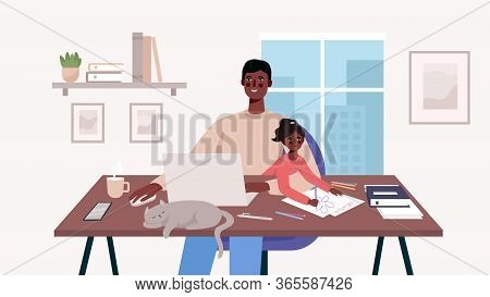 Cute Happy Father Sits With A Baby And Works At A Laptop. Home Office. Man Freelancer, Remote Work A