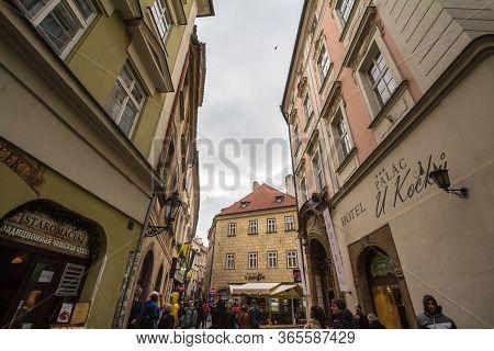 Prague, Czechia - November 3, 2019: Street Of Stare Mesto, Jilska Ulice, In The Historical Center Of