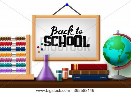 Back To School Hang Vector Concept Design. Back To School Text In Hanging White Board With Education