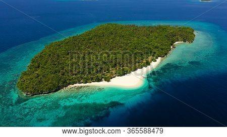 Atoll With A Beautiful Island, Aerial View. White Sand Beach And Blue Sea. Mahaba Island, Philippine