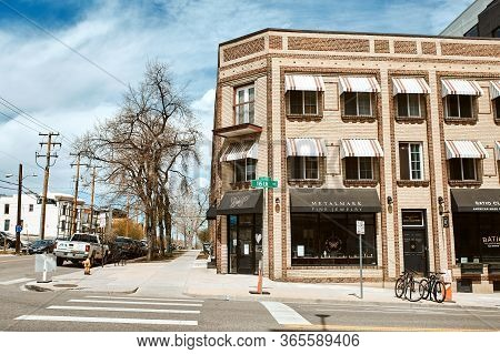Denver, Colorado - May 1st, 2020:  Commercial Businesses And Restaurants In The Lower Highlands Neig
