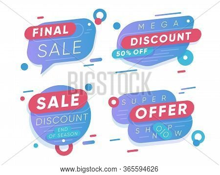 Sale Discount Stickers. Final Sale And Super Offer Retail Tags Isolated On White Background. Seasona