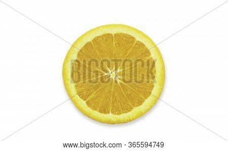 Cross Section Sliced Piece Of Fresh Organic Navel Orange In Perfect Shape On White Isolated Backgrou