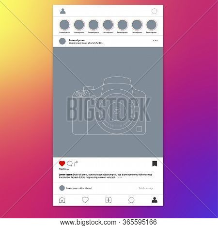 Photo Frame For Social Networks. Square Aspect Ratio. Standard Square Format On The Feed. Vector Ill