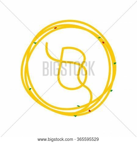Simple And Clean Logo Design Noodle. Combining Initial B In Circle Noodle.