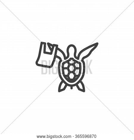 Ocean Pollution Line Icon. Linear Style Sign For Mobile Concept And Web Design. Turtle With Rubbish