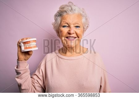 Senior beautiful grey-haired woman holding plastic denture teeth over pink background with a happy face standing and smiling with a confident smile showing teeth