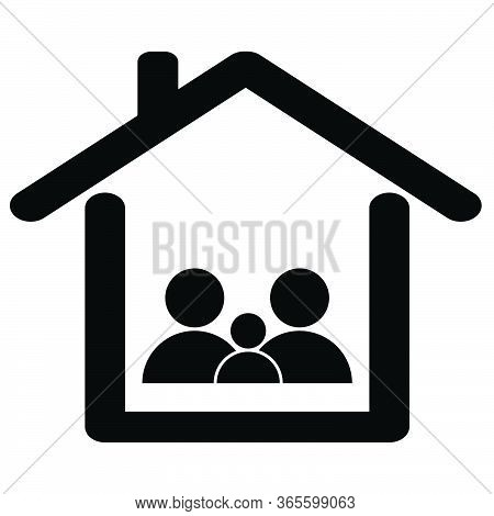 Family Stay At Home Quarantine. Black And White Pictogram Illustration Icon