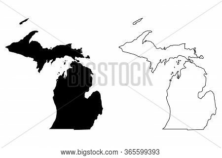 Michigan Mi State Maps. Black Silhouette And Outline Isolated On A White Background. Eps Vector
