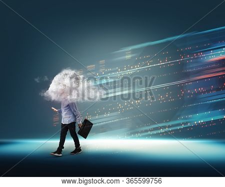 Businesman With A Cloud On Head And Data Bytes Infromation Transfering On Blue Background .