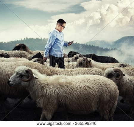Businessman Standing In The Middle Flock Of Sheep Walking In Opposite Direction. Out Of The Box Conc