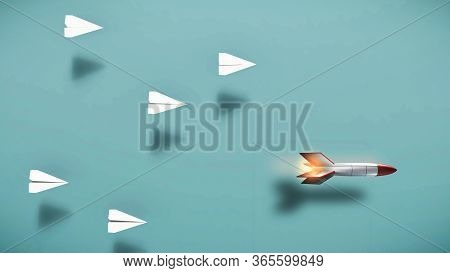 Paper Plane Race Against A Rocket Missle . Powerful Mindset And Leadership Concept . This Is A 3d Re